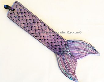 Mermaid Tail Leather Slapper Paddle - Purple Lavender