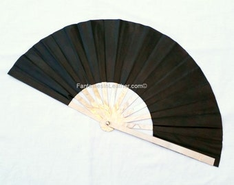 Leather and Steel Large Fighting War Fan   (CUS120)