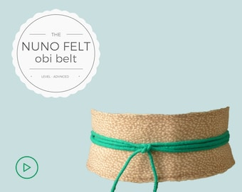 Personalized belt/obi belt/bridal belt – gift for her/gift for mom – nuno felt video tutorial/DIY/instant download