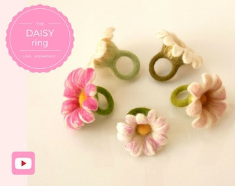 Flower Ring/Felt Daisy Jewelry - Wet Felting Video Tutorial/DIY - Bridesmaid Gift - Instant download