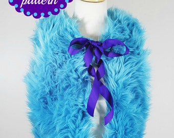 Fur Vest PDF Sewing Pattern with Tutorial sizing for 6 months through 12 girls Instant