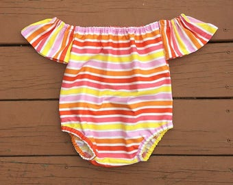 Baby Off The Shoulder Romper Playsuit 0 months through 5t PDF downloadable