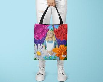 Shoulder Bag: Alice in Wonderland Floral All Over Print