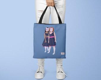 Shoulder Bag - Spooky Girls with Masks All Over Print Art Tote