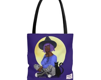 Shoulder Bag: Purple Witch with Black Cat All Over Print