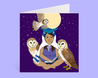 Blank Note Card: Girl with Owls & Moon | 5 x 5 Card with Envelope