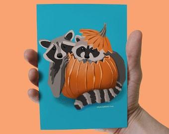 Wall Art: Raccoons Playing in Pumpkin