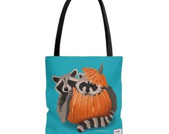 Shoulder Bag: Raccoons Playing in Pumpkin