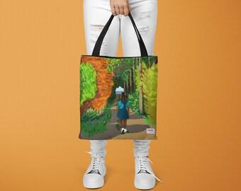 Shoulder Bag: Meditative Girl Walking Through the Woods, All Over Print Art Tote