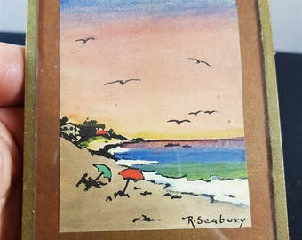 Vintage Miniature Seascape Watercolor Painting 1950's in Original Frame
