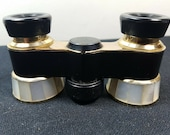 Vintage Opera Glasses Binoculars Japanese Black Enamel Metal and White Mother of Pearl Shell Scala Japan