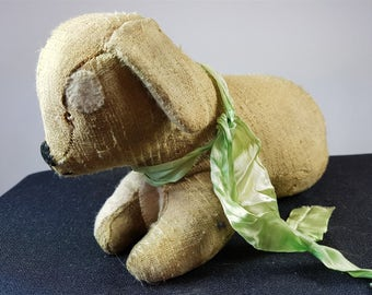 Antique Straw Filled Dog Soft Toy Animal Early 1900's