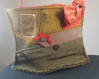 Scottish Red Leather Brown Harris Tweed Wool and Satin Reconstructed Shoulder Bag Purse Edinburgh Designer Hand Made Original