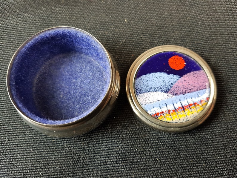 Vintage Silver Metal and Enamel Landscape Pill Ring or Trinket Box