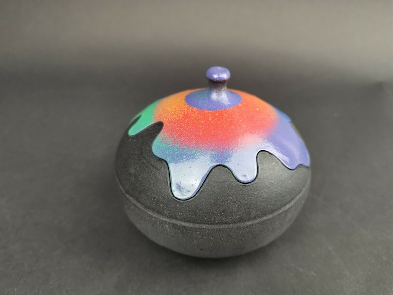 Vintage Studio Art Pottery Lidded Bowl Jar Box Dish with Rainbow Jigsaw Fitted Top Lid Black Multicolored Round Hand Made Original