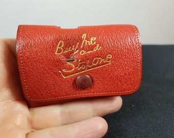 Vintage Red Leather Sewing Kit Case with Latch Pins and Measuring Tape Measure 1940's Original