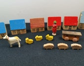 Vintage German Wooden Houses Village Set Multicolored Wood Set with Miniature Farm Animals and Doll 1950 39 s German Democratic Republic