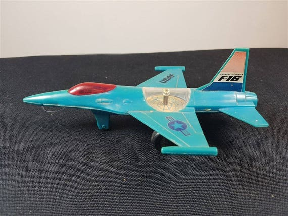 Vintage USAF F 16 Military Fighter Airplane Toy Plane Model Toy Game with Compass 1960's 1970's Original United States Air Force