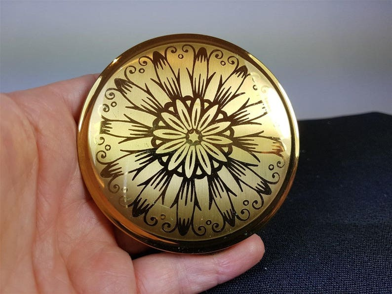 Vintage Powder Makeup Compact Gold Metal with Flower 1960's New