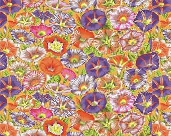 Landscape Medley Morning Glory Flower Blue Purple Pink Cotton Fabric Fat Quarter