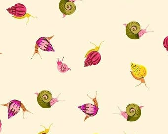 Heather Ross Fabric, Snails, 42209-6 Cream, Windham, 100% Cotton Lawn