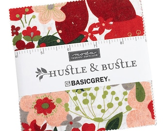 """Hustle & Bustle, Basic Grey 5"""" Charm Pack, Christmas Fabric, Moda Fabric, Quilting Cotton Squares, 30660PP"""