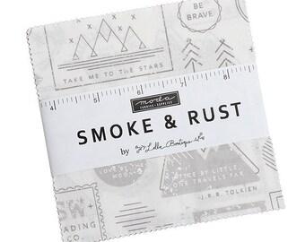 "Moda Smoke & Rust 5"" Charm Pack Fabric, Lella Boutique Fabric, Moda Fabrics, Precut Fabric Quilting Cotton Squares, 5130PP, SQ39"