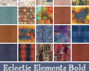 Tim Holtz Eclectic Elements Bold, 20pc, Fat Quarter Bundle, Free Spirit Quilting Fabric, FB2FQTH.BOLD, F32