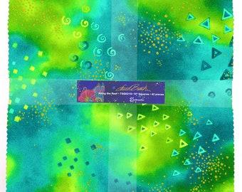 "42 Laurel Burch  ~ Along The Reef ~ Squares ~ 10/"" x 10/""  Square ~100/% Cotton"