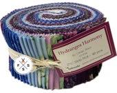 Hydrangea Harmony, Strip Roll, Cedar West, 2.5 quot Precut Fabric Quilting Strips, Clothworks, J11