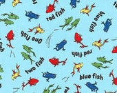Dr. Seuss Fabric, One Fish Two Fish, ADE-16328-4 Blue, Robert Kaufman, 100 Cotton, S27
