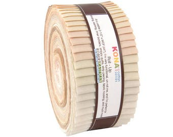 """Kona Cotton Solids Not Quite White Roll Up 2.5"""" Precut Fabric Quilting Cotton Strips Jelly RU-428-40, J07"""