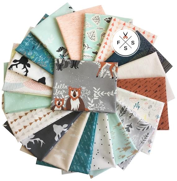 Art Gallery Bonjour ours Fat Quarters 20 FQ coton prédécoupé tissu Quilting Bonnie Christine