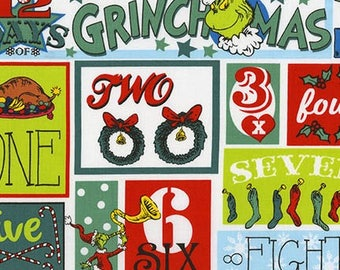 Pre-Order Dr. Seuss Fabric, How the Grinch Stole Christmas, ADE-17493-223 Holiday, Robert Kaufman, 100% Cotton