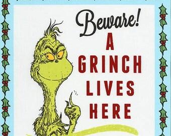 Pre-Order Dr. Seuss Fabric Panel, How the Grinch Stole Christmas, ADE-17490-223, Robert Kaufman, 100% Cotton