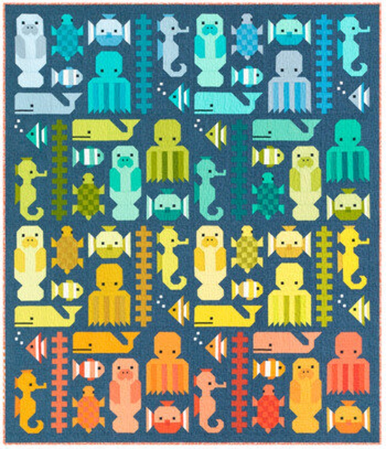 KITP-2098-45 PRE-ORDER 71 x 83 Quilt Kit May 2021 Release Awesome Ocean Kaufman Fabric Elizabeth Hartman