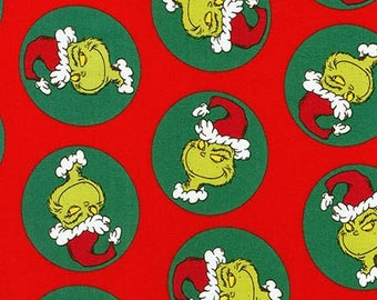 Pre-Order Dr. Seuss Fabric, How the Grinch Stole Christmas, ADE-17492-223 Holiday, Robert Kaufman, 100% Cotton