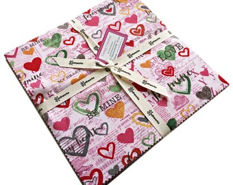 "Anne Bollman Vintage Valentine Precut 10"" Fabric Squares Quilting Cotton Layer Cake Clothworks"