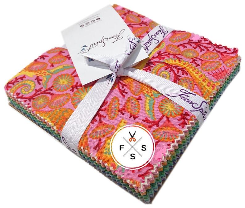 6f2efc55d813bb IN STOCK Tula Pink Zuma Precut 5 Charm Pack Fabric