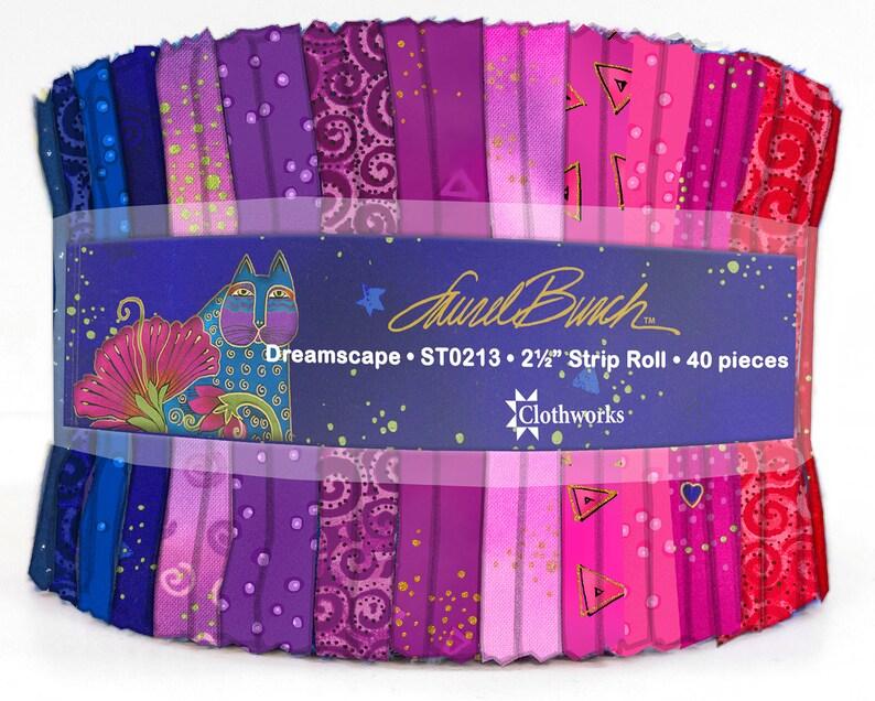 2.5 Strip Roll Precut Fabric Quilting Strips Clothworks Laurel Burch Basics Dreamscape