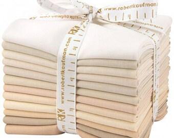 Kona Cotton Solids Fabric - Not Quite White, Fat Quarter Bundle, 12pc, Precut Cotton Quilting Fabric, FQ-909-12, F28