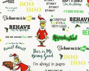 Pre-Order Dr. Seuss Fabric, How the Grinch Stole Christmas, ADE-17491-223 Holiday, Robert Kaufman, 100% Cotton