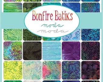 "RARE Moda Bonfire Batiks Precut 5"" Charm Pack Fabric Quilting Cotton Squares 4346PP SQ07"
