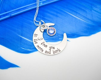 I love you to the moon and back necklace, Crescent Moon Necklace, Sterling silver, Mothers Day gift for her