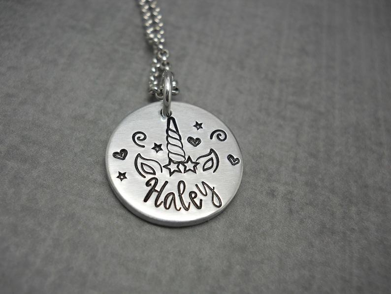 Personalized Unicorn necklace unicorn name necklace with image 0