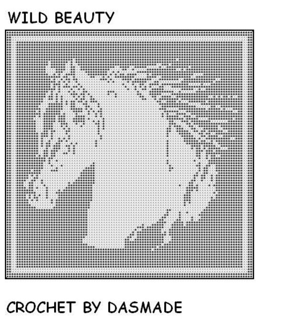 509 Wild Beauty Horse filet crochet doily afghan pattern | Etsy