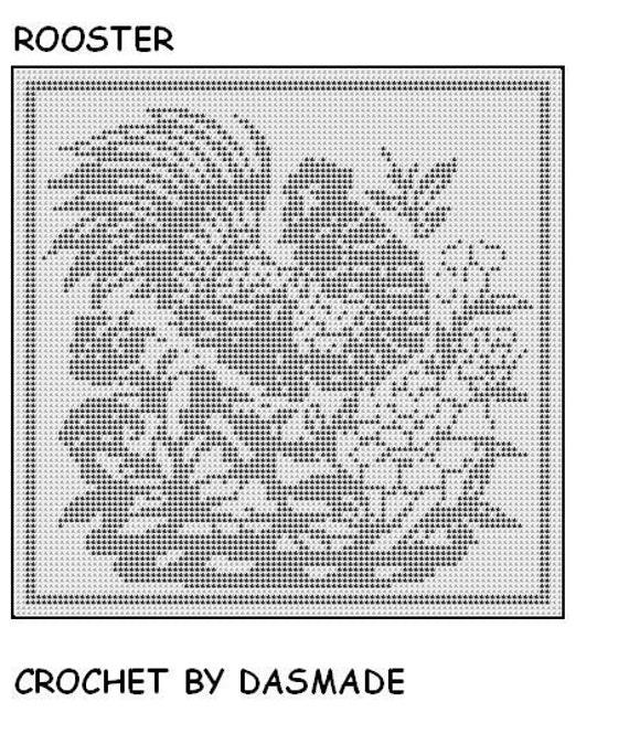 570 Rooster filet crochet doily wall hanging curtain pattern