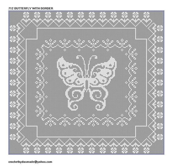 712 Butterfly Filet Crochet Afghan Tablecenter Crochet Pattern Etsy