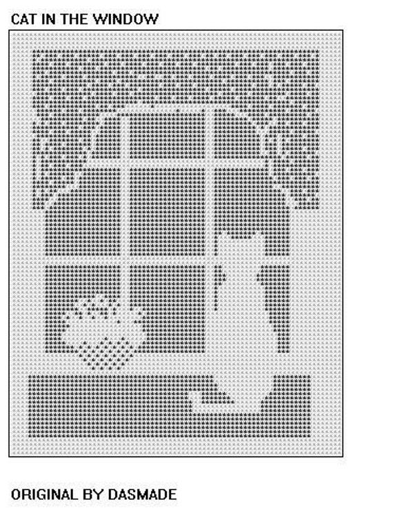 Filet Crochet Cat In The Window Pattern Afghan Doily 459