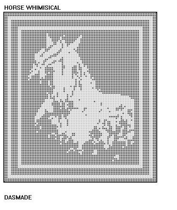 Horse Whimsical Filet Crochet Doily Mat Afghan Wallhanging Etsy